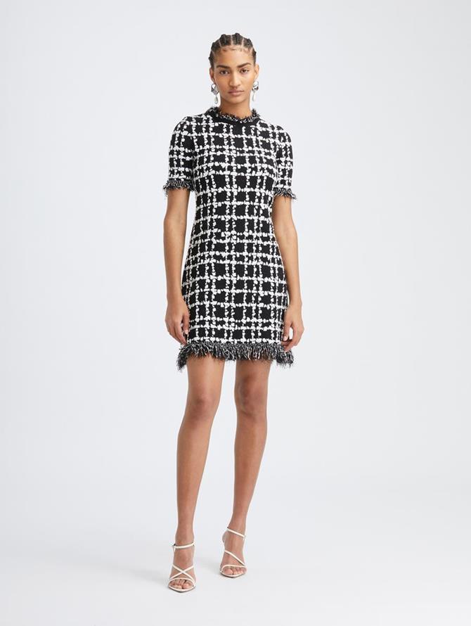 Stretch Plaid Knit Dress
