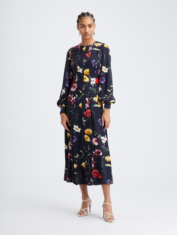 Fiore Pleated Crepe Dress