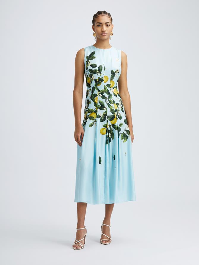 Sleeveless Silk Citrus Primavera Dress