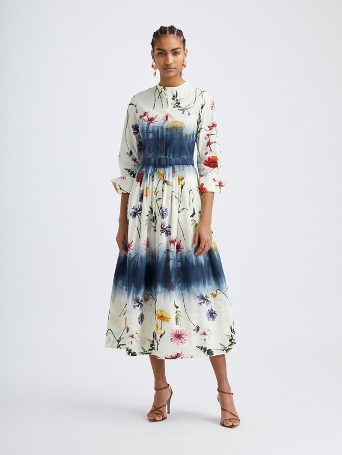 Tie-Dye Cotton Poplin Shirt Dress