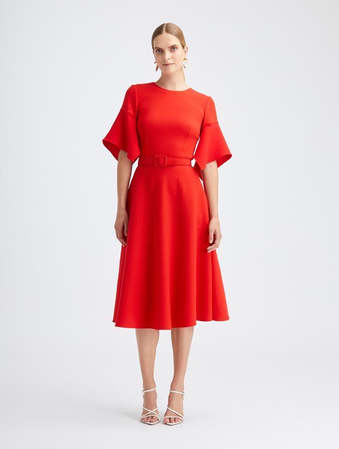 Scarlet Wool Crepe Dress