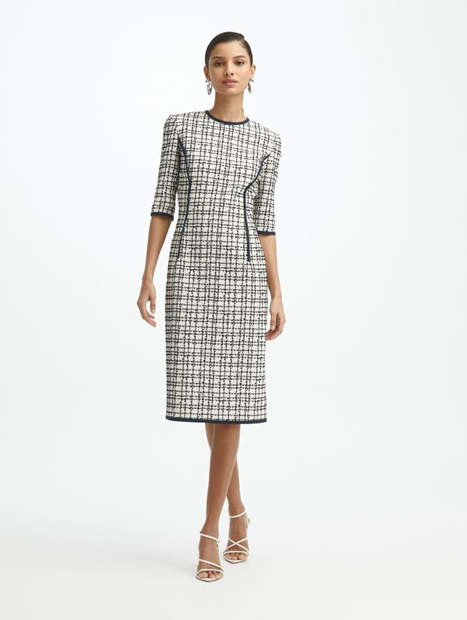 Stretch Plaid Fitted Dress