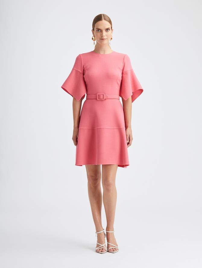 Rouge Wool Crepe Dress