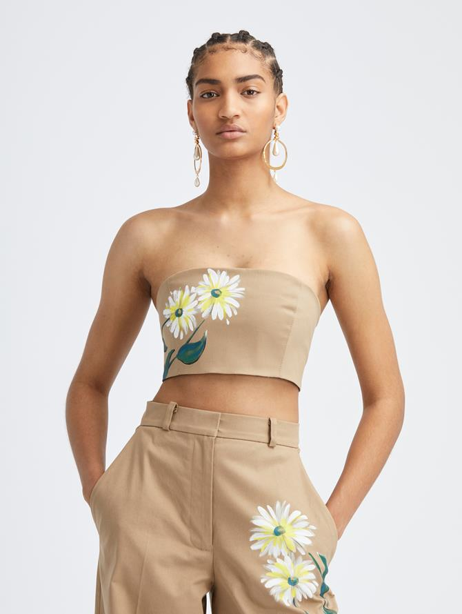 Hand Painted Floral Cropped Top