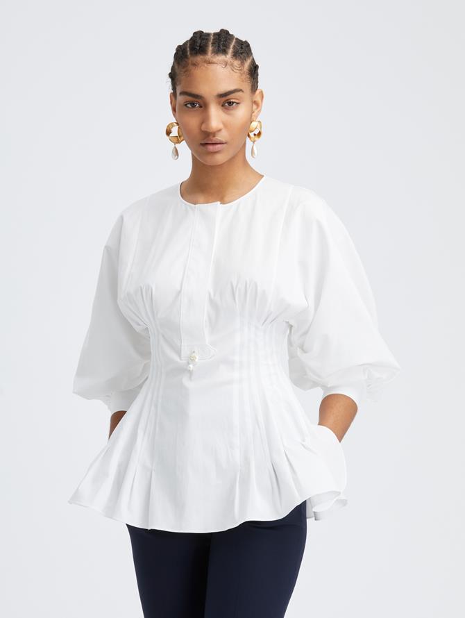 Bubble Sleeve Cotton Blouse