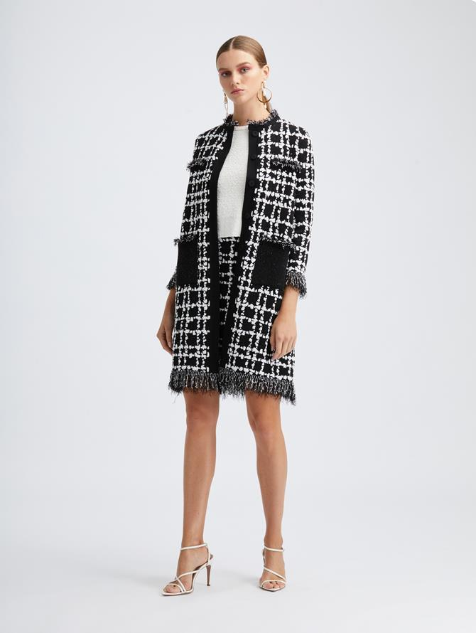 Plaid Fringe Knit Coat