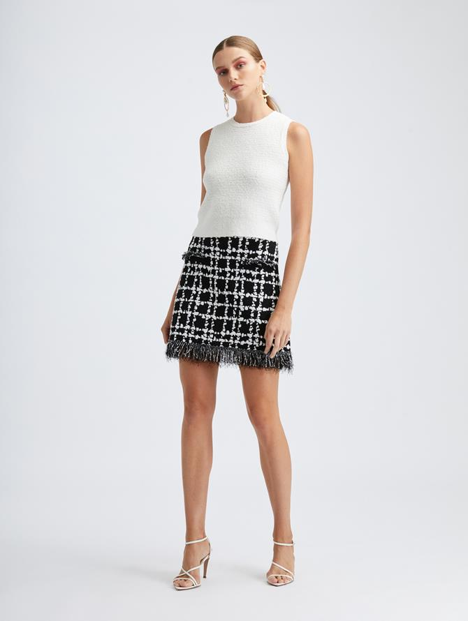 Stretch Plaid Knit Skirt