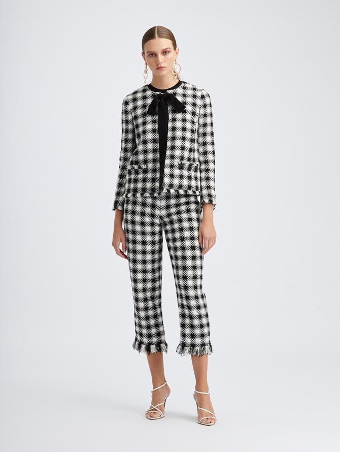 Ivory Check Tweed Crop Pant