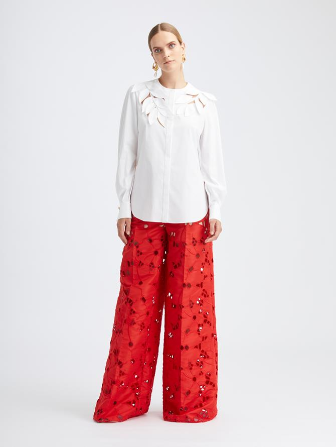 Embroidered Faille Wide Leg Pant