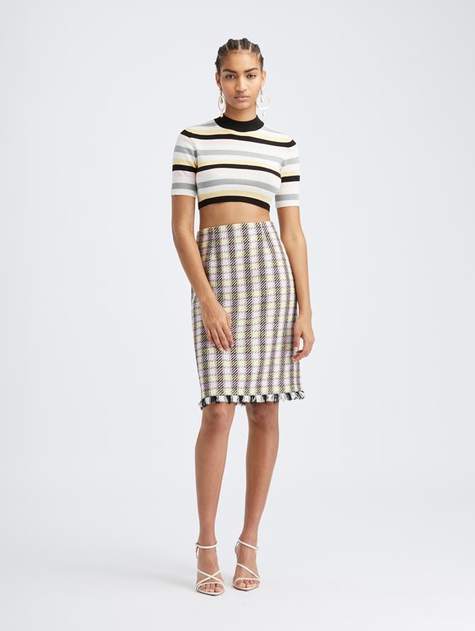 Check Tweed Pencil Skirt