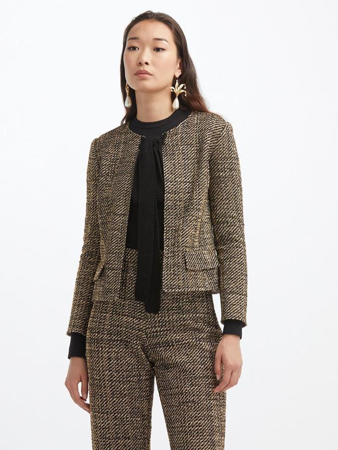 Lurex Tweed Tie Neck Jacket
