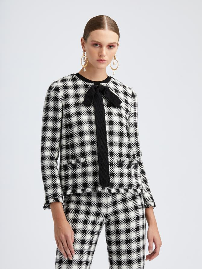 Ivory Check Tweed Tie Neck Jacket