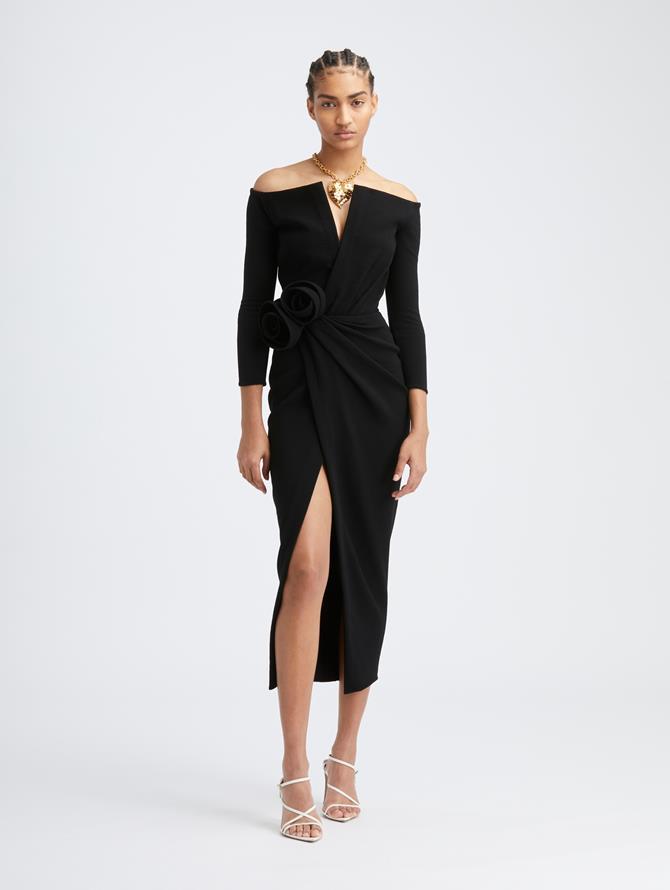 V-Neck Rosette Dress