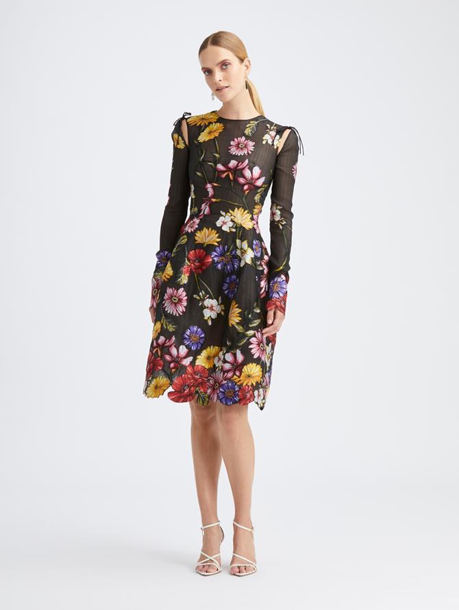 Silk Fiore Long Sleeve Cocktail Dress