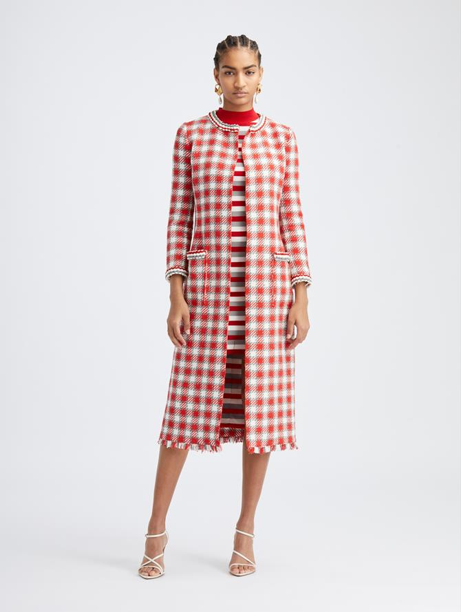 Scarlet Check Tweed Coat