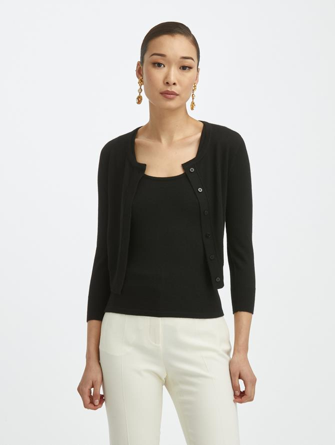 Cashmere Silk ¾ Sleeve Cardigan