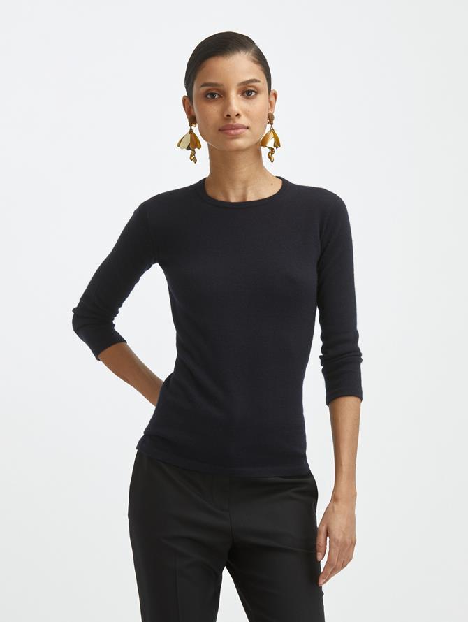 Cashmere Silk Jewel Neck Pullover
