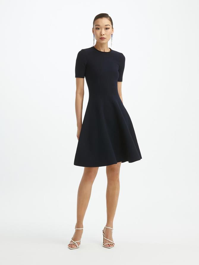 Navy A-Line Knit Dress