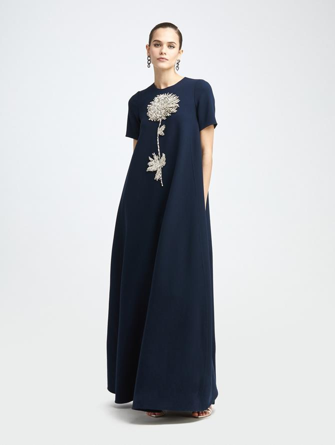 SHORT SLEEVE EMBROIDERED GOWN