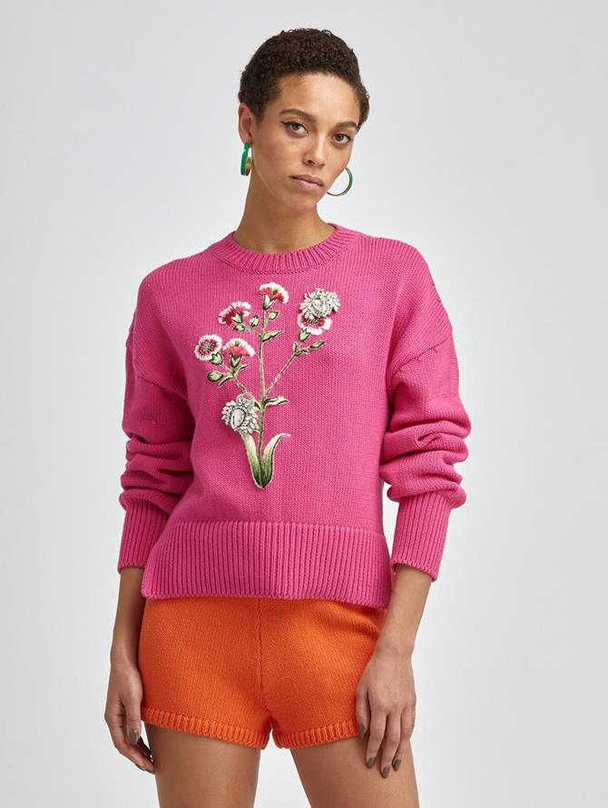 BOTANICAL EMBROIDERED KNIT PULLOVER