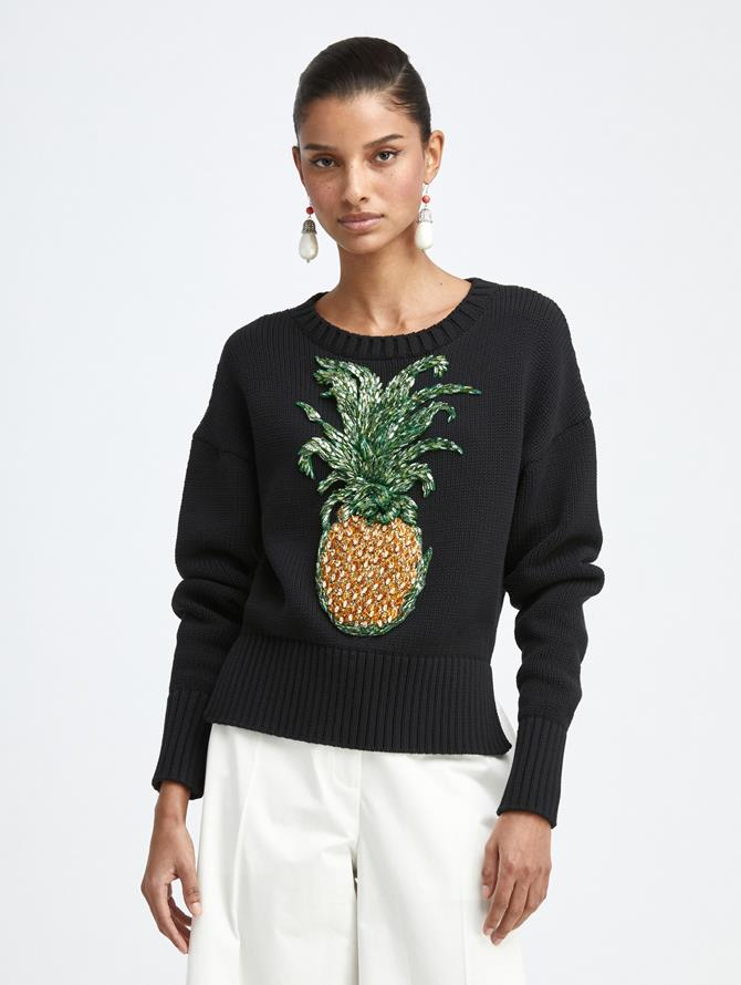 PINEAPPLE EMBROIDERED KNIT PULLOVER