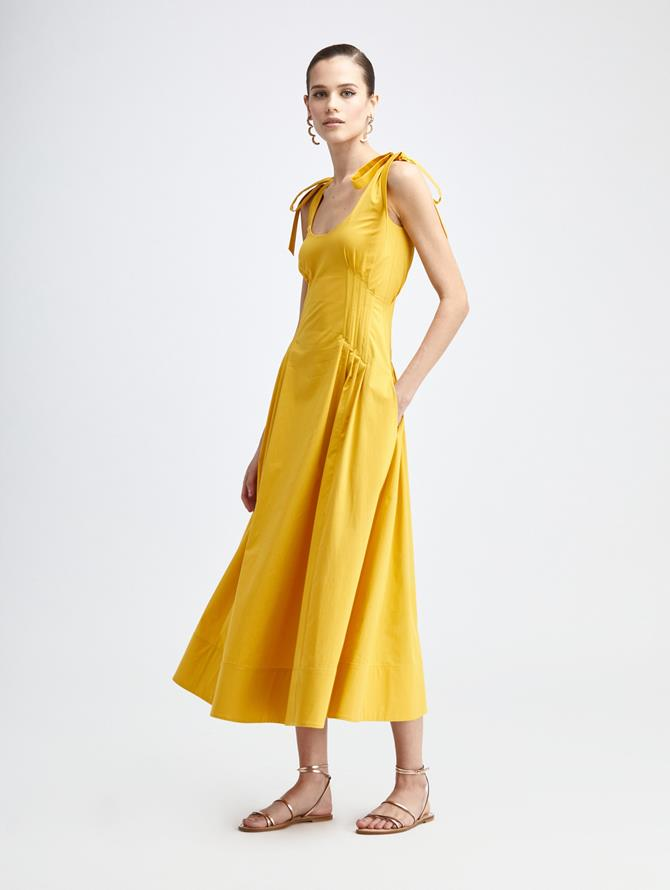 OCHRE A-LINE DRESS
