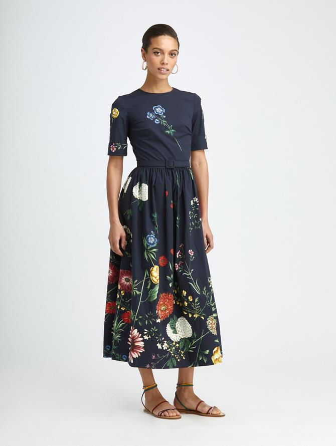 TOSSED BOTANICAL POPLIN DRESS