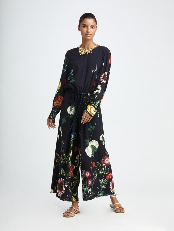 TOSSED BOTANICAL CREPE JUMPSUIT