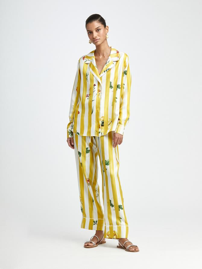 BOTANICAL STRIPE SILK PANT