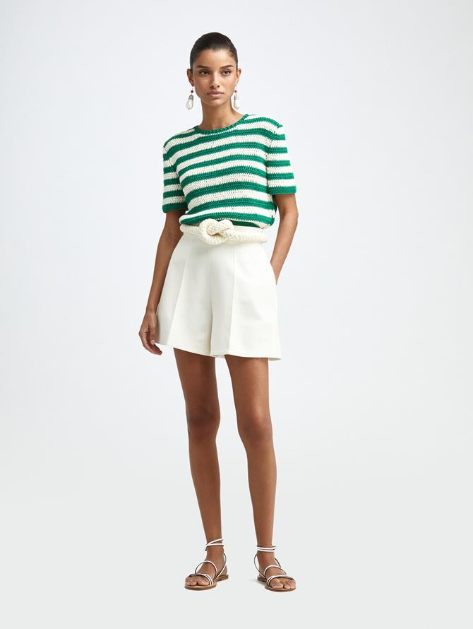 DOUBLE FACE WOOL SHORTS