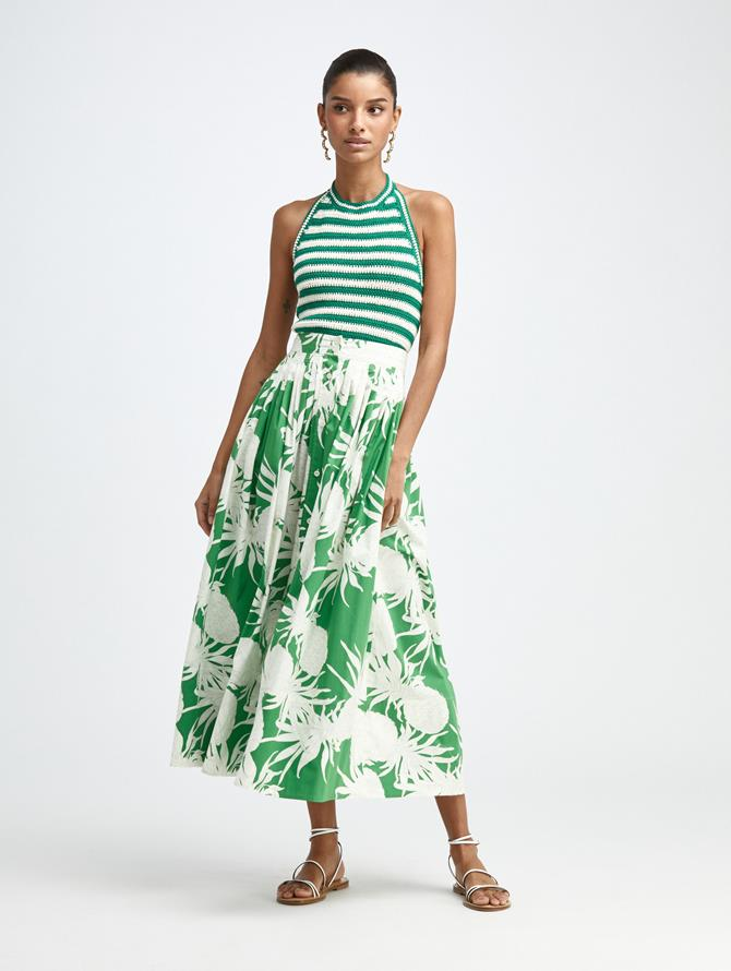 COTTON PRINTED MIDI SKIRT