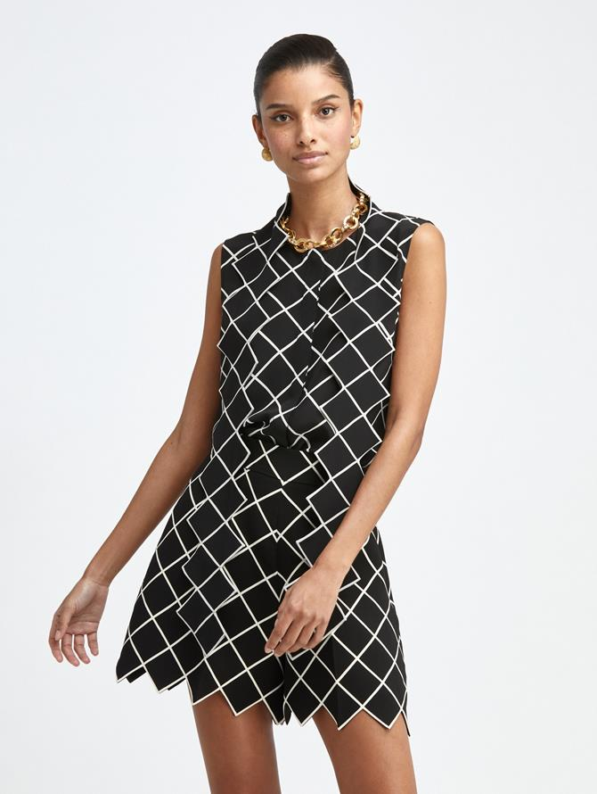 WINDOWPANE SLEEVELESS SILK BLOUSE