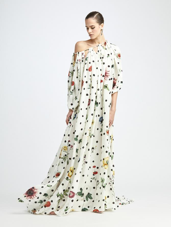 BOTANICAL DOT OFF SHOULDER SILK CAFTAN