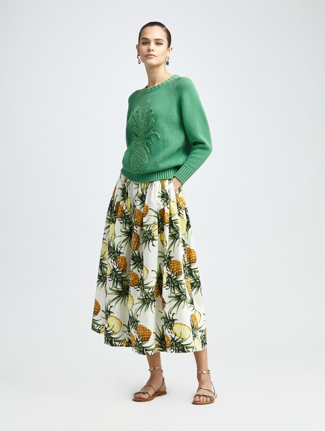 VINTAGE PINEAPPLE PRINTED MIDI SKIRT
