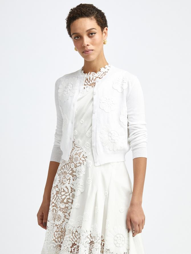 EMBROIDERED IVORY KNIT CARDIGAN