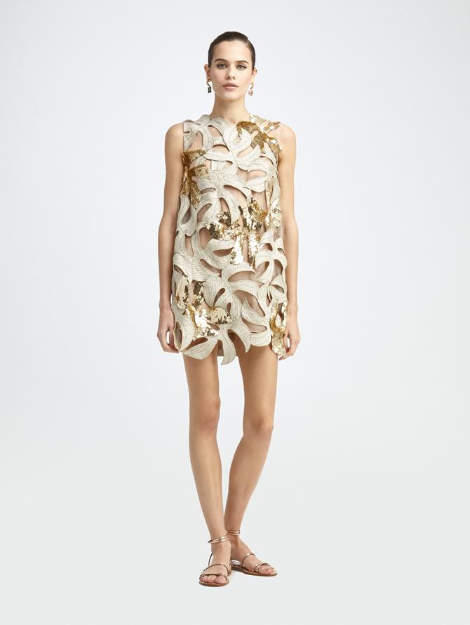 PALM LEAF SEQUIN DRESS