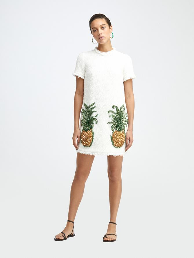 PINEAPPLE EMBROIDERED MINI DRESS