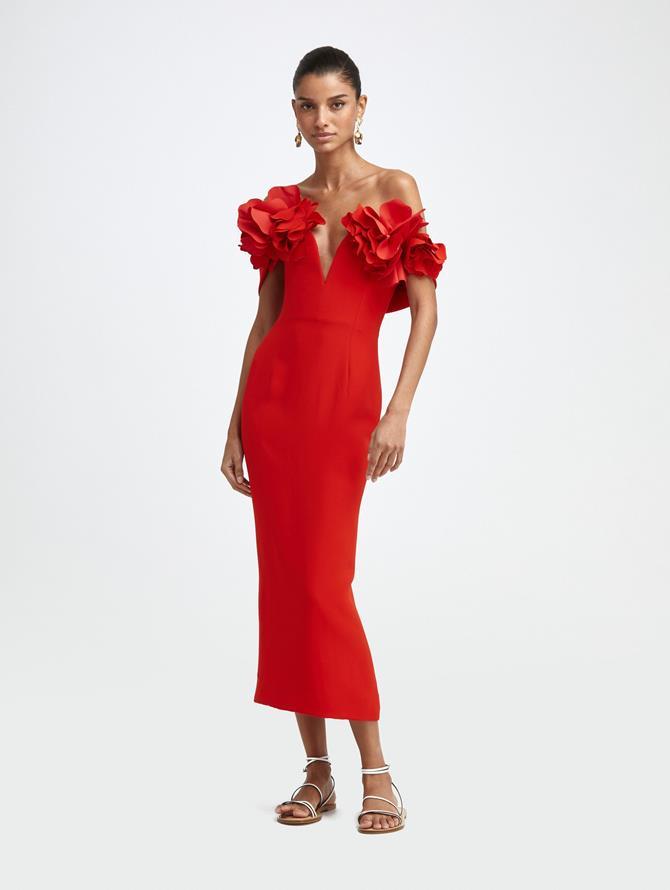 OFF-SHOULDER CADY COCKTAIL DRESS
