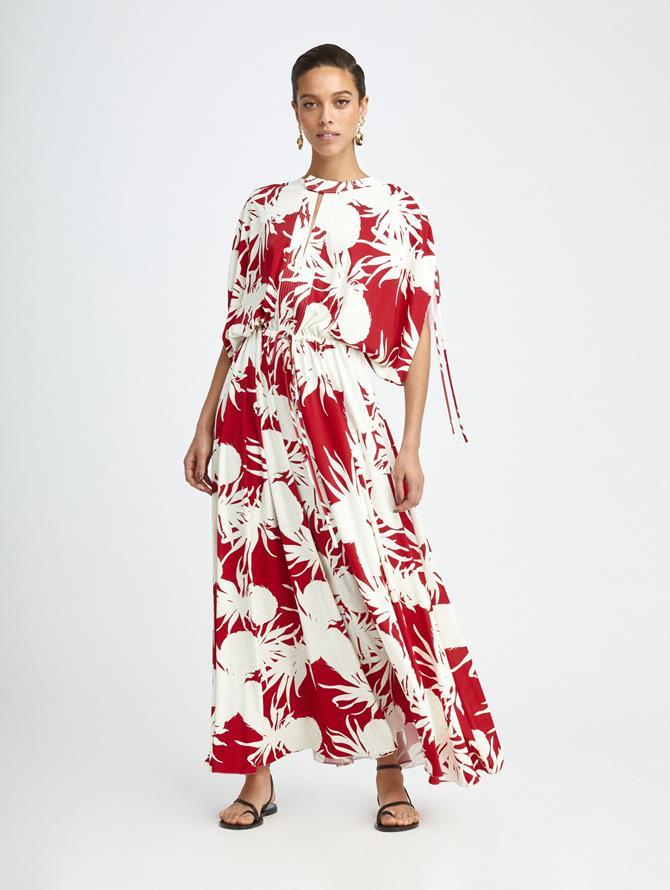 SHIRRED SLEEVE PINEAPPLE MAXI DRESS