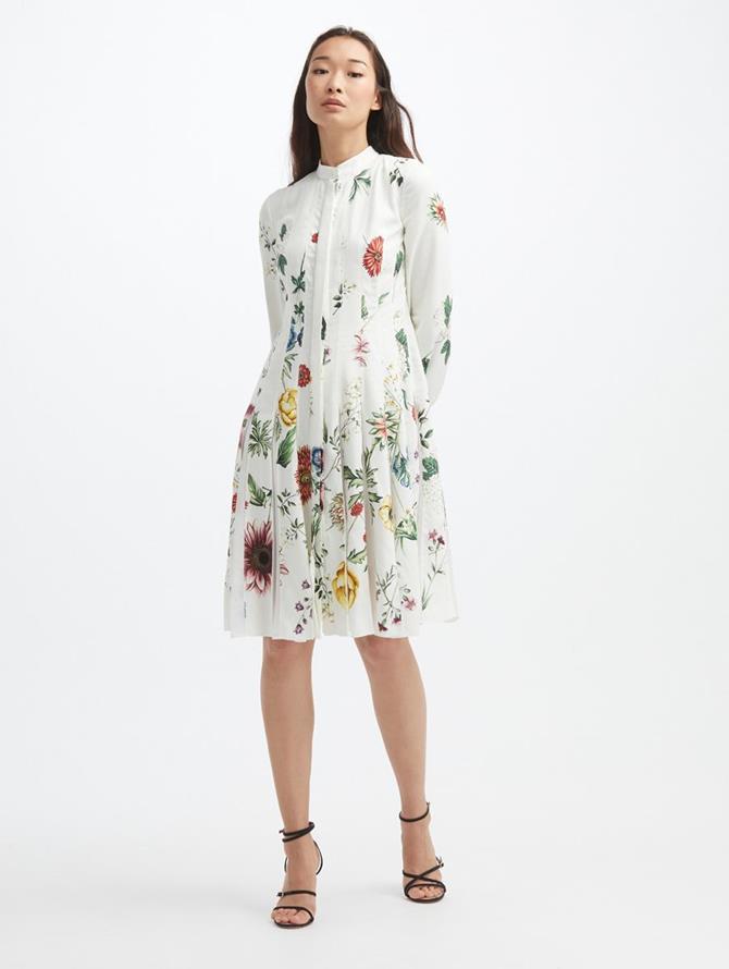 TOSSED BOTANICAL CREPE DRESS