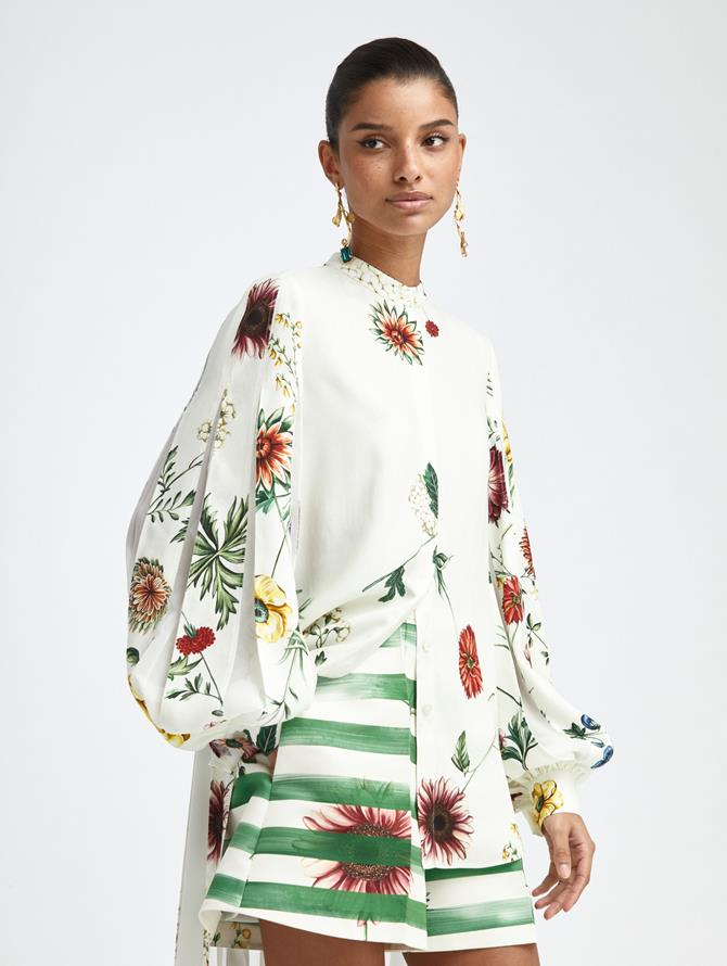 PLEATED BOTANICAL HIGH LOW BLOUSE