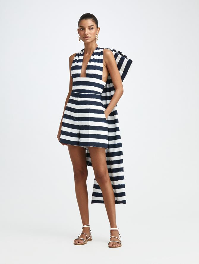 PAINTED STRIPE BOW BACK TOP