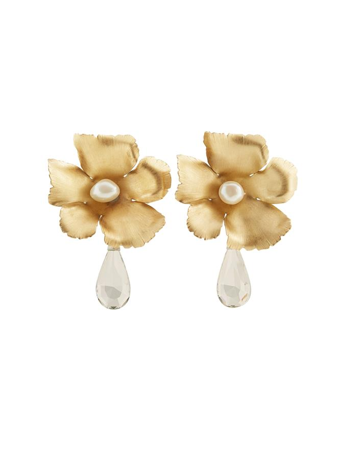 Dropped Diamond Flora Earrings