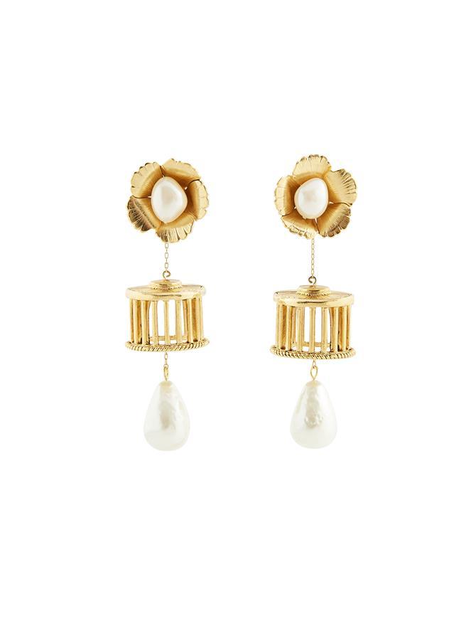 Pillared Pearl Earrings