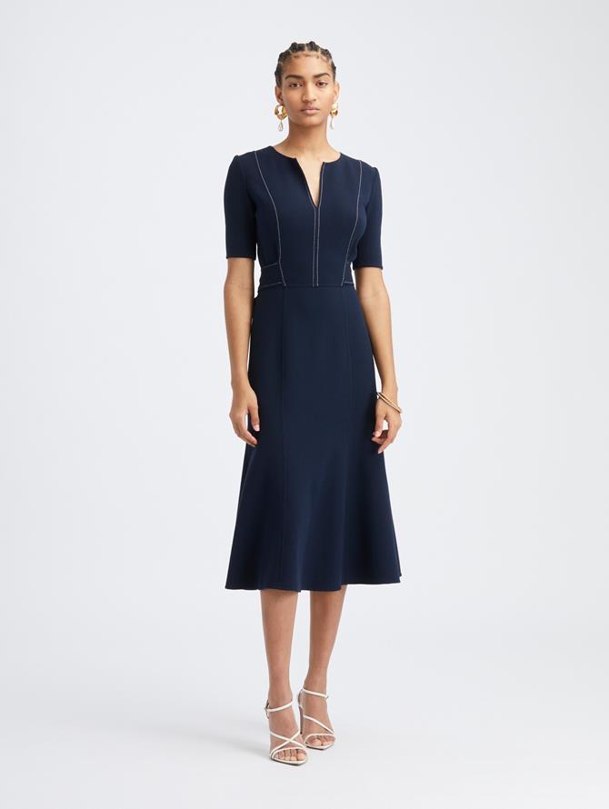 Contrast Stitch Short Sleeve Dress
