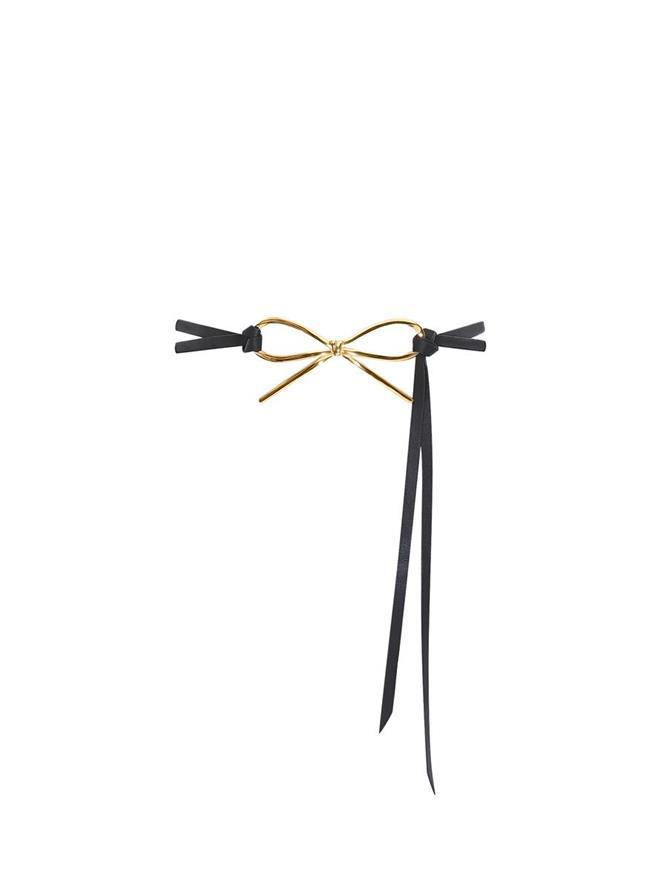 Skinny Leather Bow Belt
