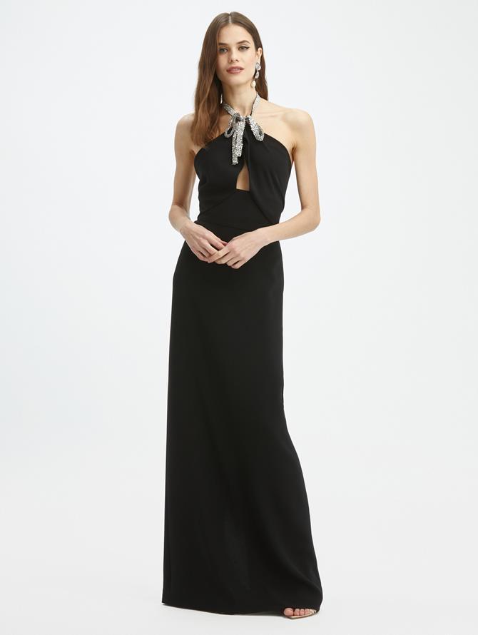 Silk-Georgette Halter Bow Gown