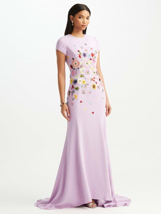 Pressed Flower Embroidered Cap Sleeve Gown