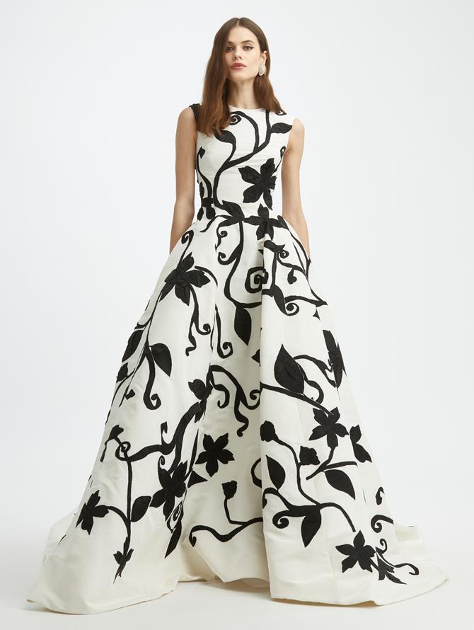 Duchess Crushed Flower Faille Ball Gown
