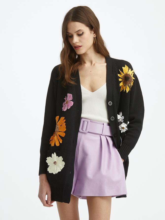 Oversized Flower Knit Cardigan